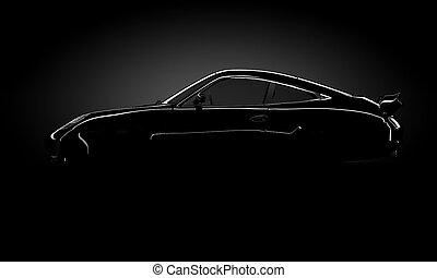 voiture, standin, silhouette, briller