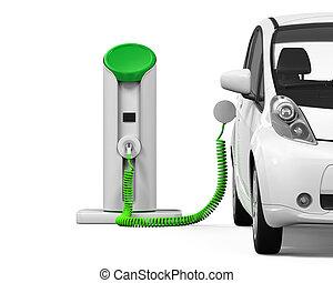 voiture station lectrique charger voiture lectrique illustration de stock rechercher. Black Bedroom Furniture Sets. Home Design Ideas