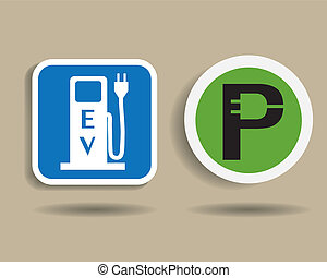 voiture, station, charger