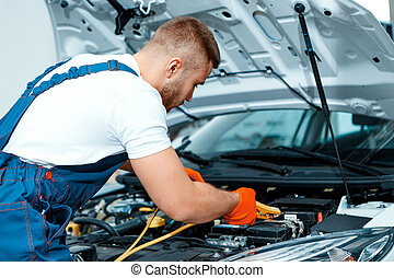voiture, station, mécanicien, service