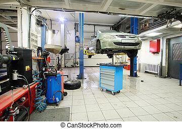 voiture, station, réparation