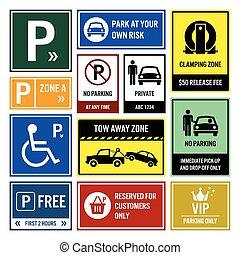 voiture, stationnement, parc, signboards, signes
