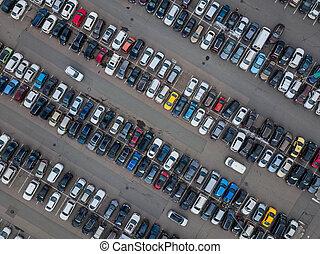 voiture, stationnement, -, vue aérienne