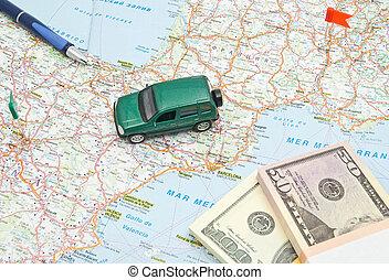 voiture, stylo, vert, notes, carte