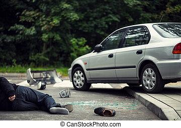 voiture, suivant, incident, rue, trafic, victime, mensonge