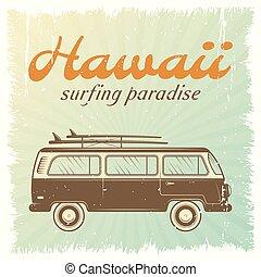 voiture, surfer, affiche