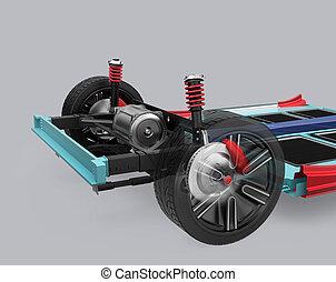 voiture, suspension, underframe