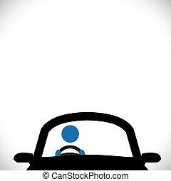 voiture, symbole, -, chauffeur, ou, vecteur, graphic., icône