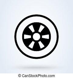 voiture, symbole, roue, minimal, linéaire, vecteur, pneu, icon.