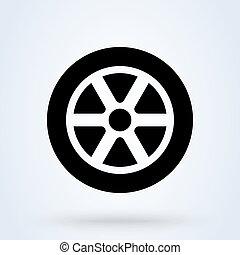 voiture, symbole, roue, vecteur, pneu plat, icon.