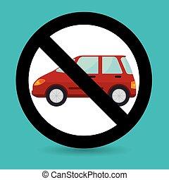 voiture, symbole, transit, emplacement