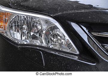 voiture, tête, noir, lampe