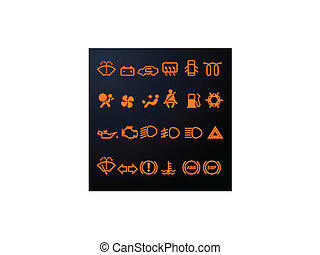 voiture, tableau bord, éclairé, icônes