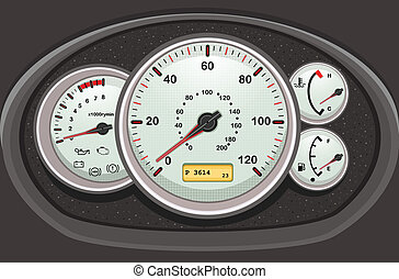 voiture, tableau bord, dials.