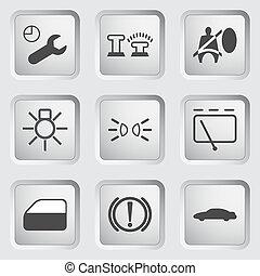 voiture, tableau bord, icônes, 3