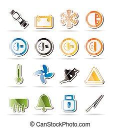 voiture, tableau bord, icônes