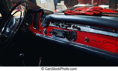 voiture, tableau bord, retro, rouges, panneau