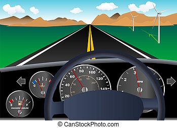 voiture, tableau bord, route