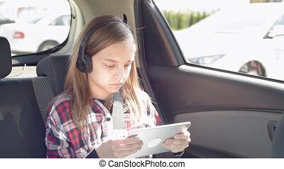 voiture, tablette, enfant