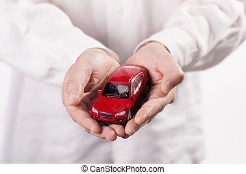 voiture, tenant mains