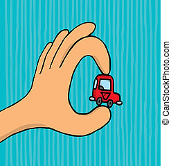 voiture, tenue, minuscule, main