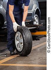 voiture, tenue, pneu, mécanicien, garage
