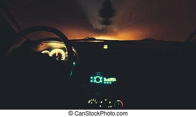 voiture, timelapse, conduite, nuit