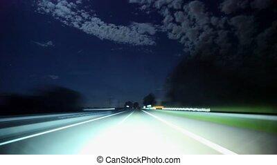 voiture, (timelapse), voyage