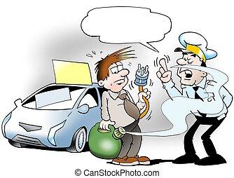voiture, ton, carburant, vérification, flic