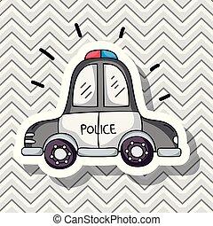 voiture, transport, conception, pièces, police