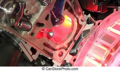 voiture, travail, détail, valves, pistons