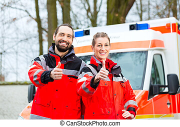voiture, urgence, docteur, ambulance, devant