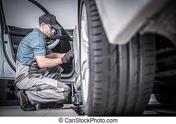 voiture, utilisé, entretien, sous