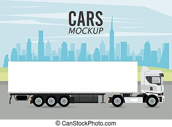 voiture, véhicule, icône, mockup, camion