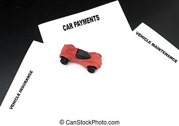voiture, véhicule, moyenne, inclure, enregistrement, dépenses, réparation, assurance, courant
