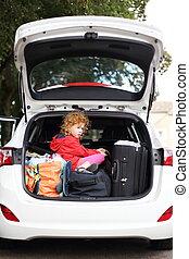 voiture, vacances, enfants