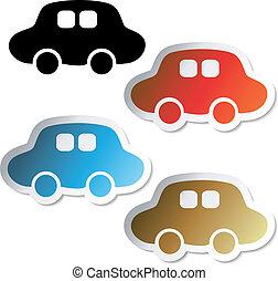 voiture, vecteur, autocollants