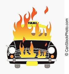 voiture, vecteur, brûlé, illustration