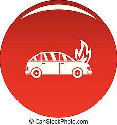 voiture, vecteur, brûlé, rouges, icône