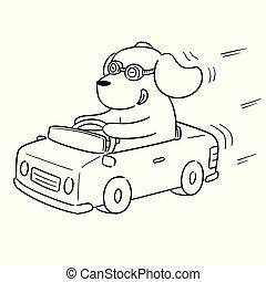 voiture, vecteur, chien, conduite