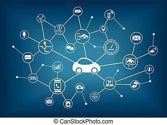 voiture, vecteur, connecté, illustration.