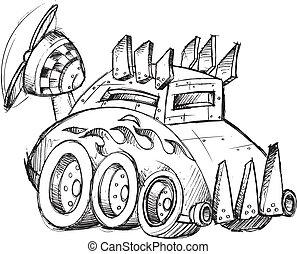 voiture, vecteur, croquis, blindé