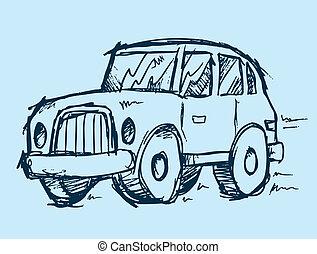voiture, vecteur, illustration, griffonnage