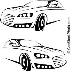 voiture, vecteur, illustration, logo