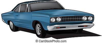 voiture, vecteur, illustration, muscle