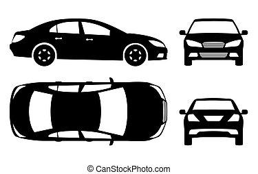 voiture, vecteur, noir, illustration, icônes
