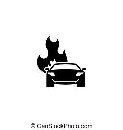 voiture, vecteur, plat, brûlé, icône