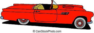 voiture, vecteur, retro, rouges