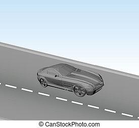 voiture, vecteur, road.