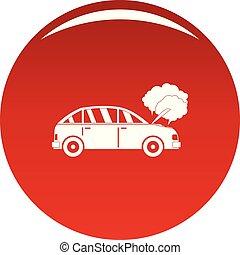 voiture, vecteur, rouges, fumée, icône